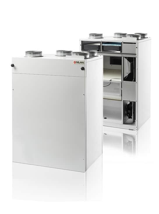Nilan Comfort CT 300 Polar ilmanvaihtokone lämmontalteenotolla, avattuna ja kiinni