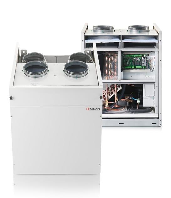 Nilan VPL 15 Top M2 ilmanvaihtokone lämpöpumpulla, kiinni ja avattuna