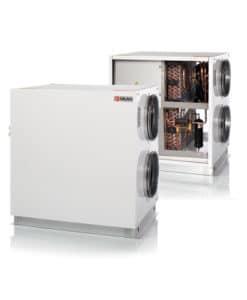 Nilan VPL 28 C ilmanvaihtokone lämmöntalteenotolla, avattuna ja kiinni
